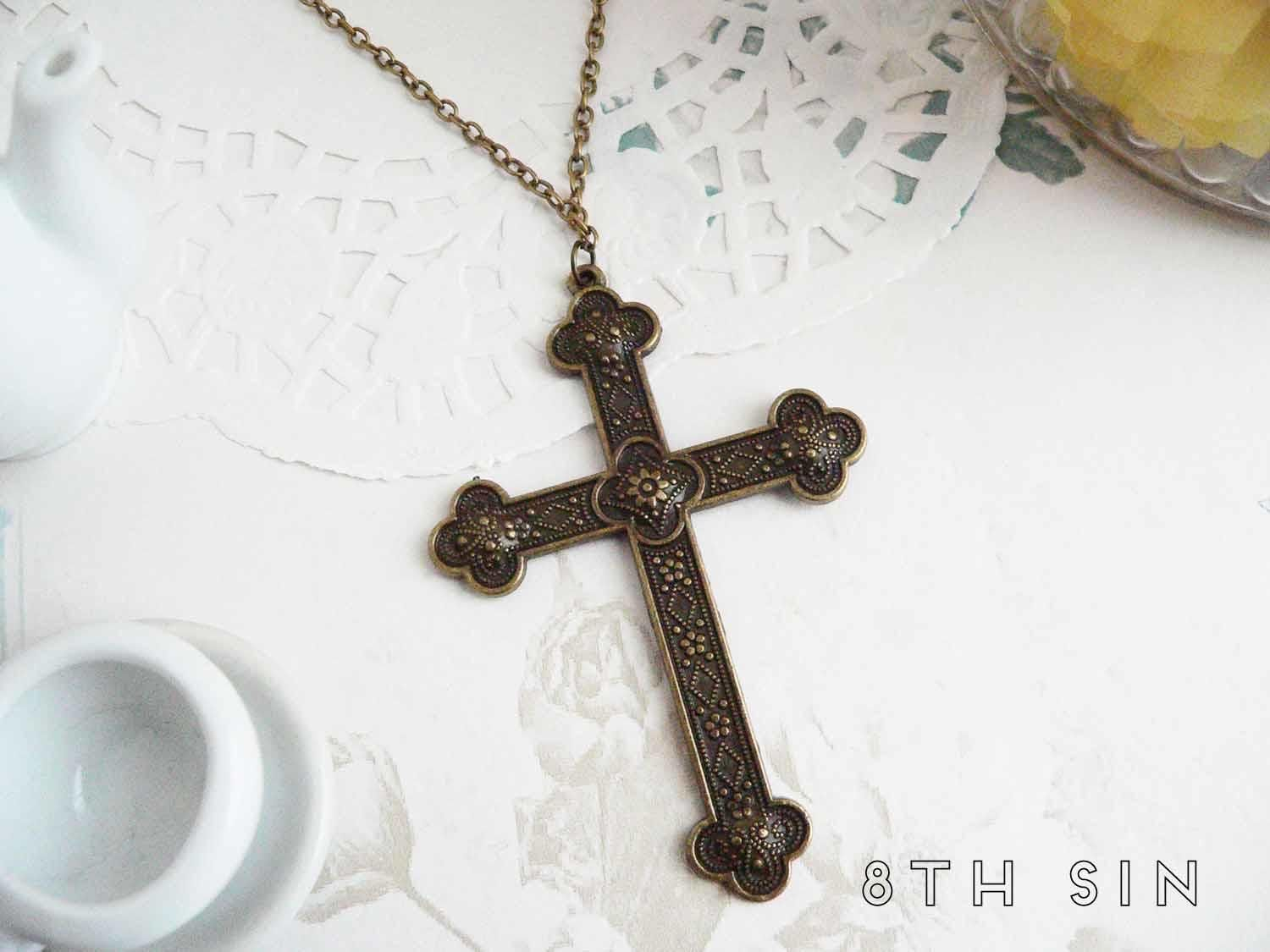 Antique bronze cross necklace aloadofball Image collections
