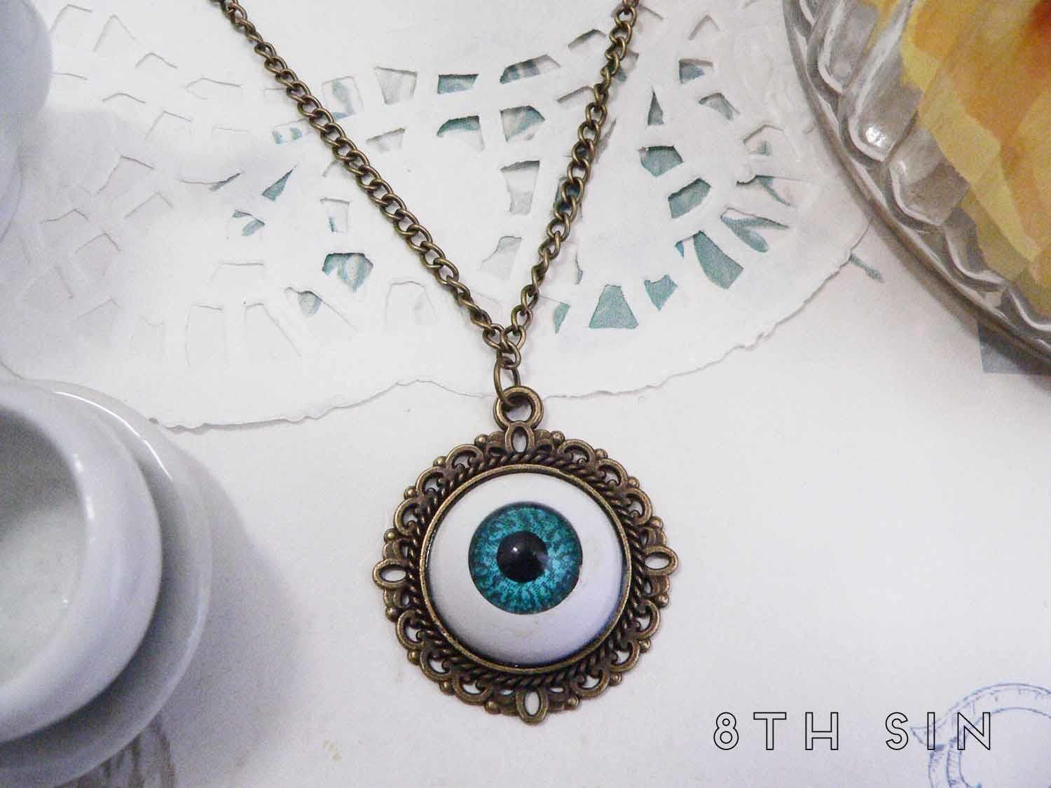 jewelry kreepsville necklace amazon pendant portal necklaces eyeball detail green com