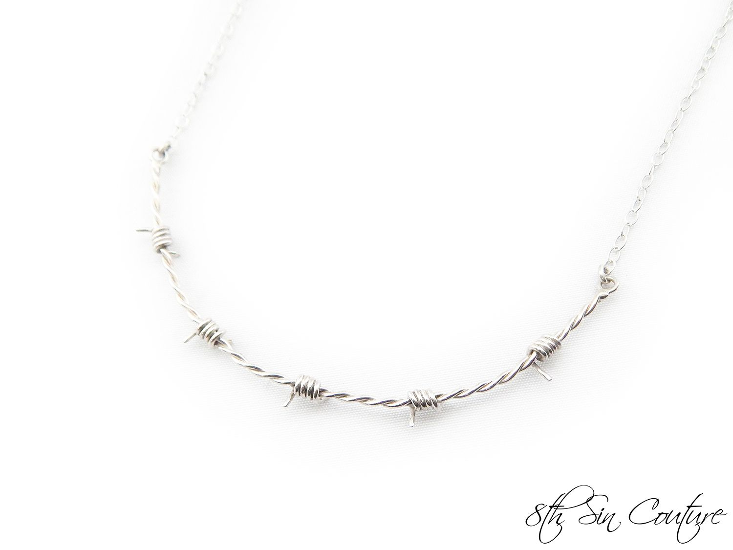 105607ebde27c Sterling Silver Barbed Wire Choker Necklace